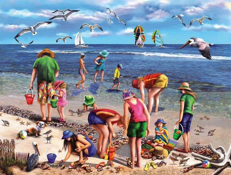 Shell Seekers Beach Jigsaw Puzzle