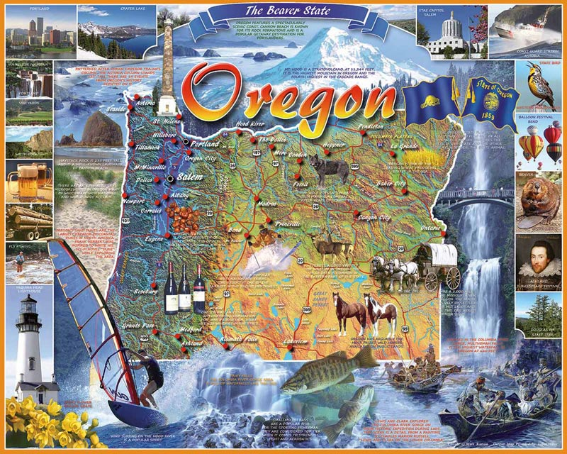 Oregon State Map Jigsaw Puzzle PuzzleWarehousecom - State map of oregon