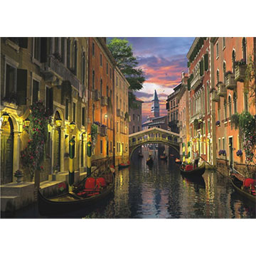 Venice at Dusk Boats Jigsaw Puzzle
