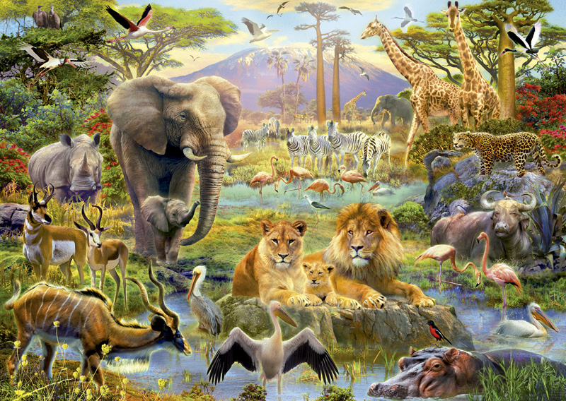 Africa Watering Hole Jigsaw Puzzle | PuzzleWarehouse.com