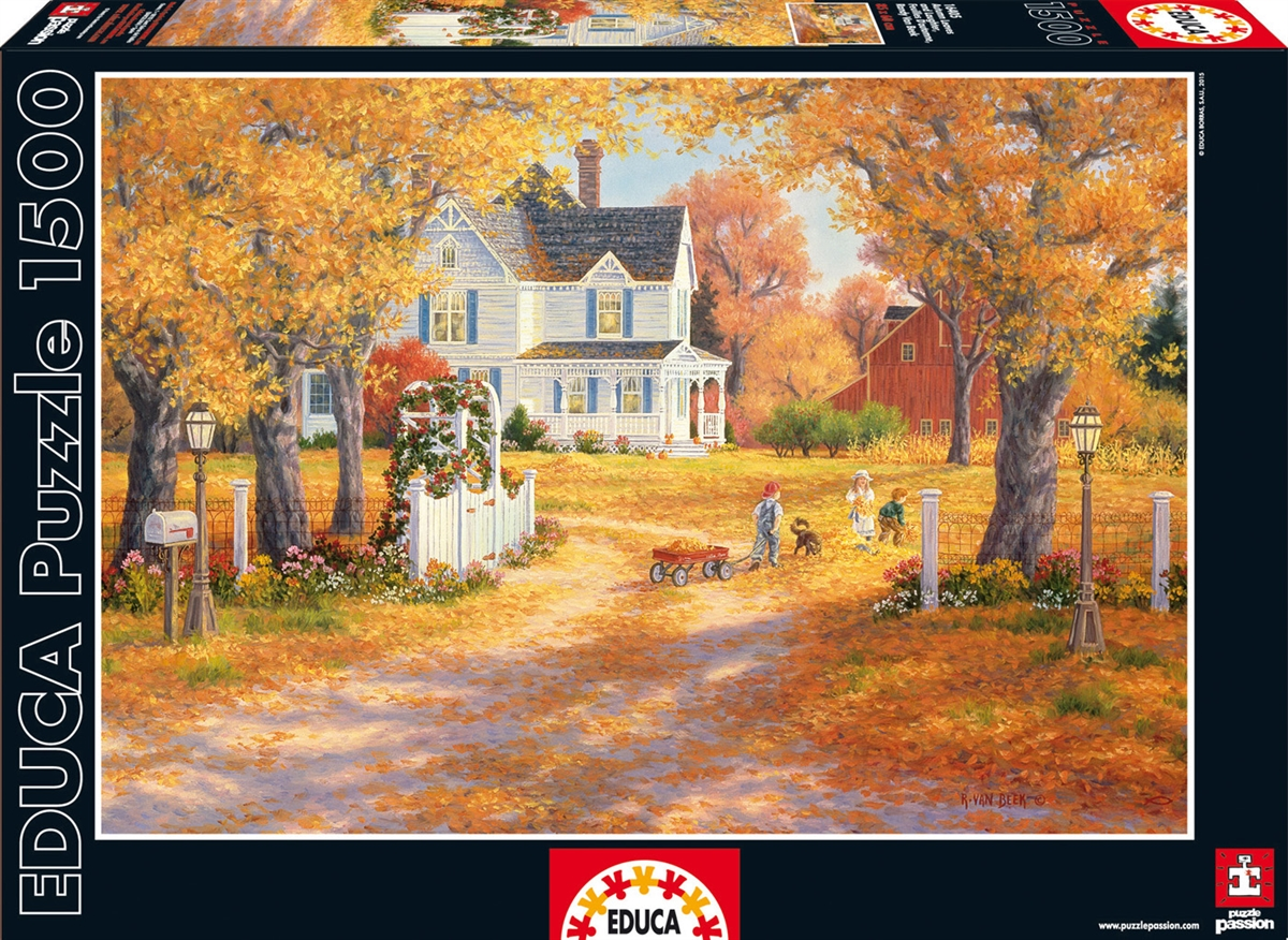 Autumn Leaves and Laughter Countryside Jigsaw Puzzle