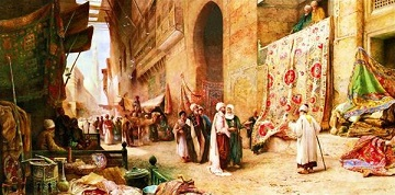 Carpet Sale in Cairo Street Scene Jigsaw Puzzle