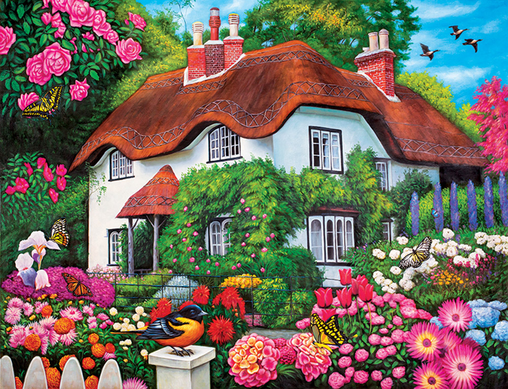 Flower Cottage Countryside Jigsaw Puzzle