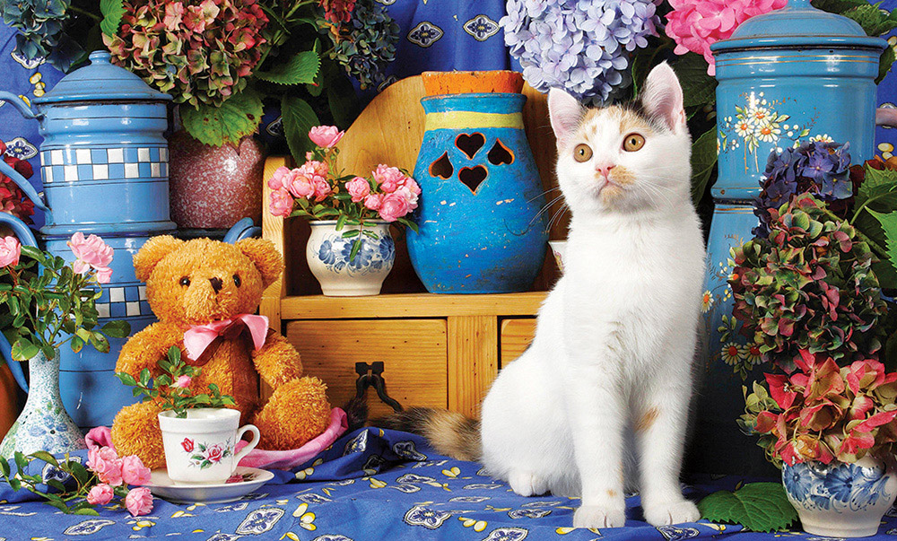 Calico Cat Sitting by a Tea Set and Teddy Bear - Scratch and Dent Cats Jigsaw Puzzle
