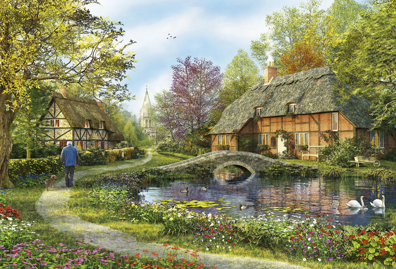 Meadow Cottages - Scratch and Dent Countryside Jigsaw Puzzle