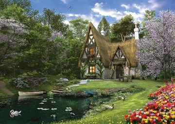 Spring Lake Cottage Flowers Jigsaw Puzzle