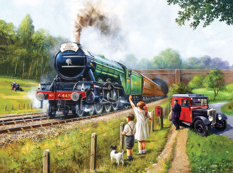 Watching the Trains Countryside Jigsaw Puzzle