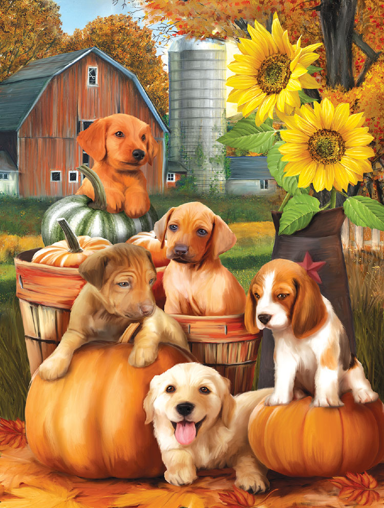Autumn Puppies Animals Jigsaw Puzzle