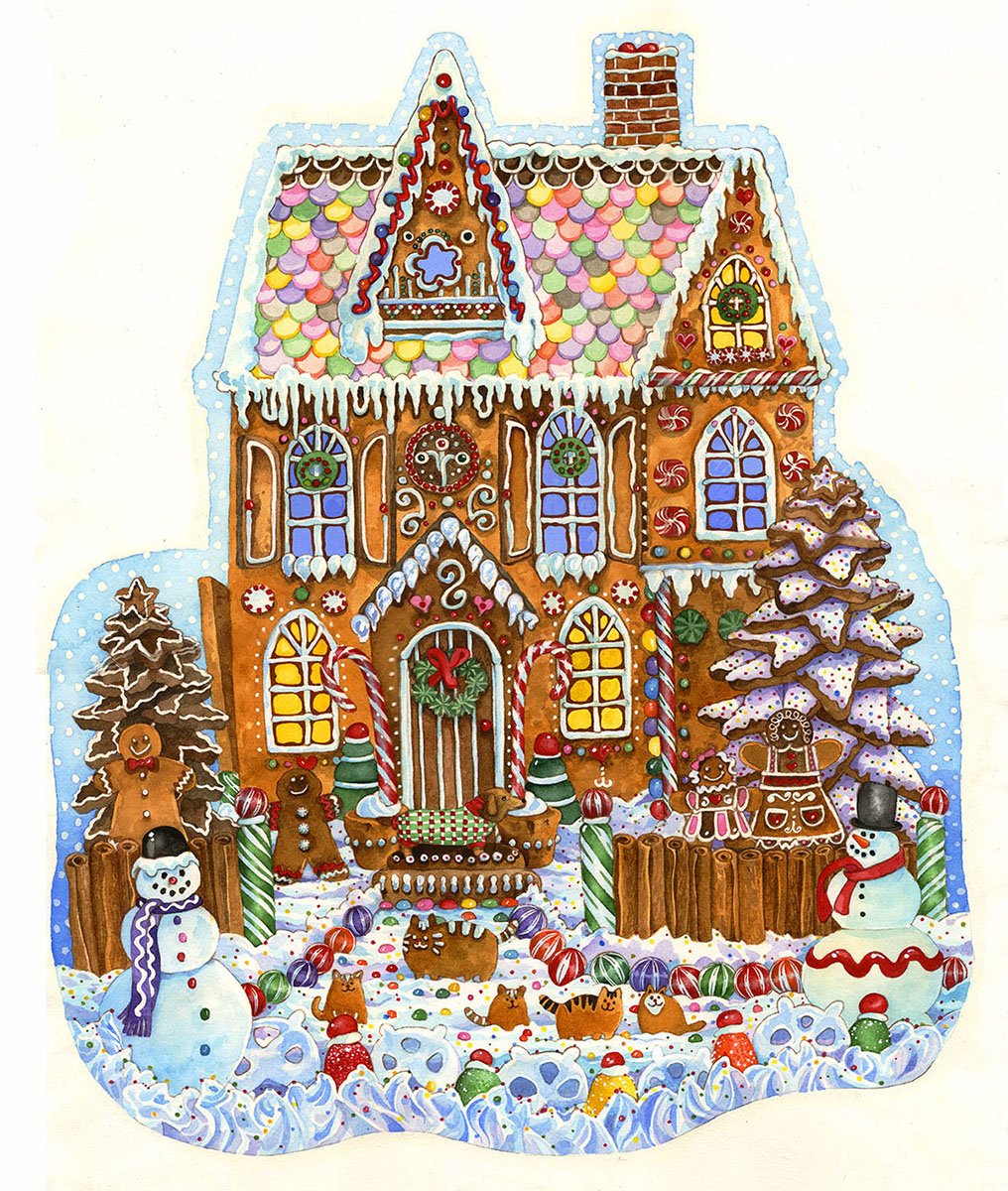Gingerbread House Winter Shaped Puzzle