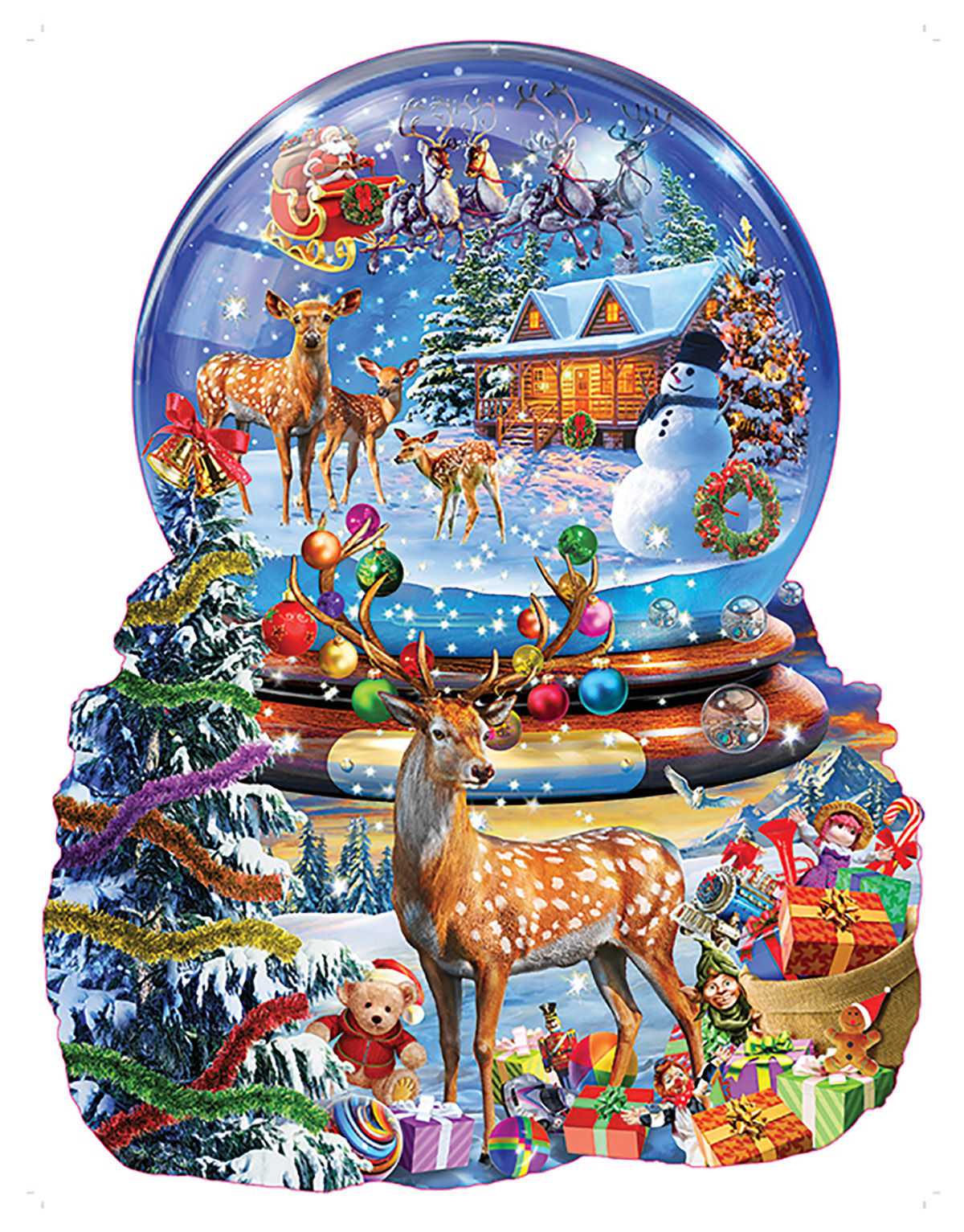 Christmas Snow Globe Winter Shaped Puzzle