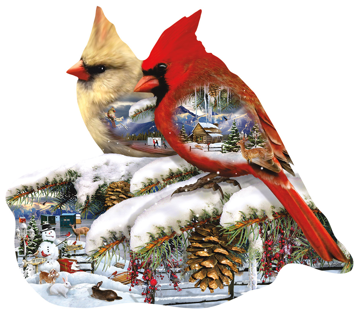 Winter Cardinals Birds Shaped Puzzle