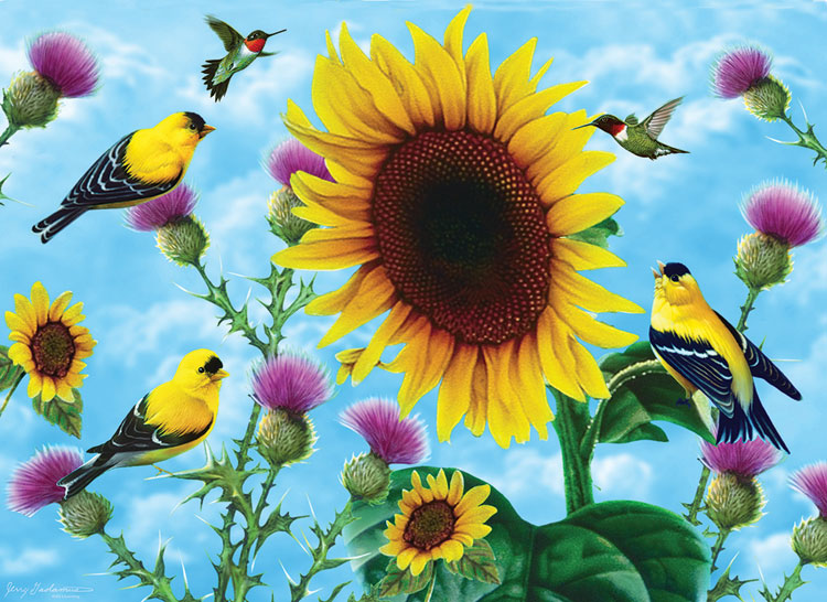 Sunflowers and Songbirds Birds Jigsaw Puzzle