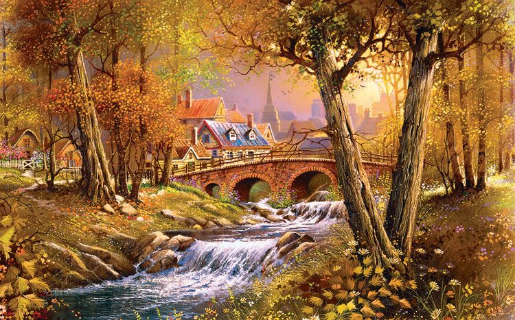 Bridge over the Stream Countryside Jigsaw Puzzle