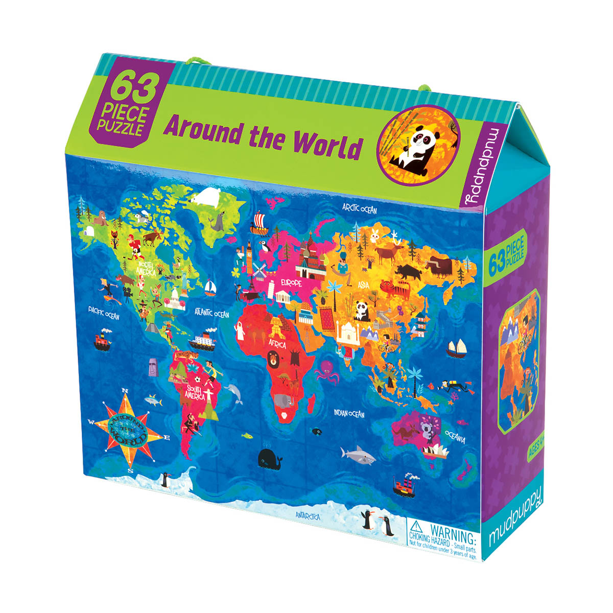 Around the World 63 Piece Puzzle - Scratch and Dent Educational Jigsaw Puzzle