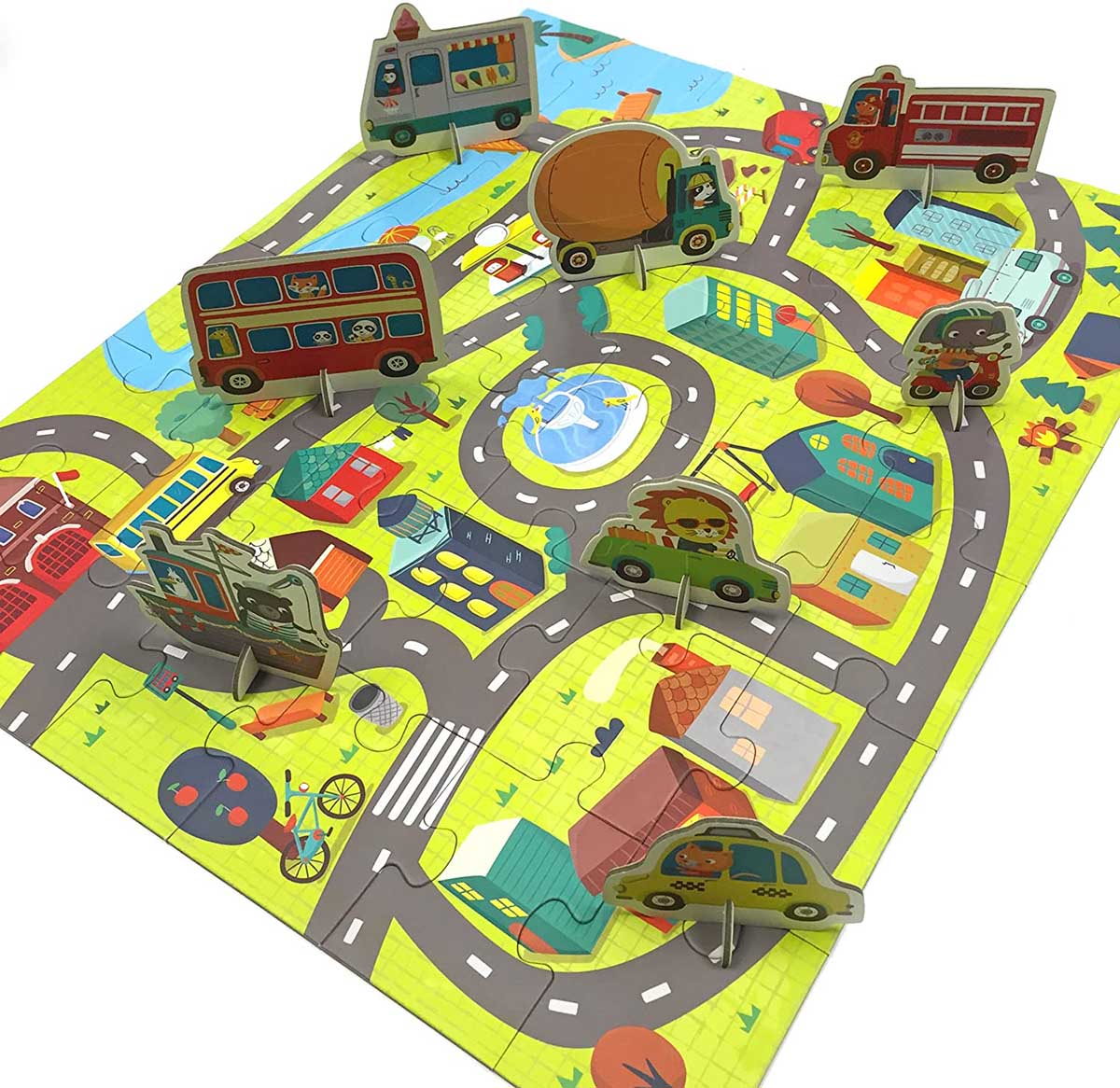 Around the Town Puzzle Play Set Vehicles Jigsaw Puzzle