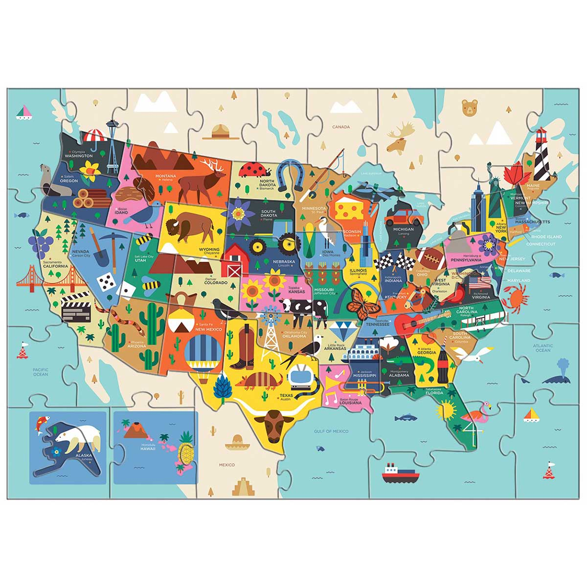 Map of the U.S.A. Educational Jigsaw Puzzle