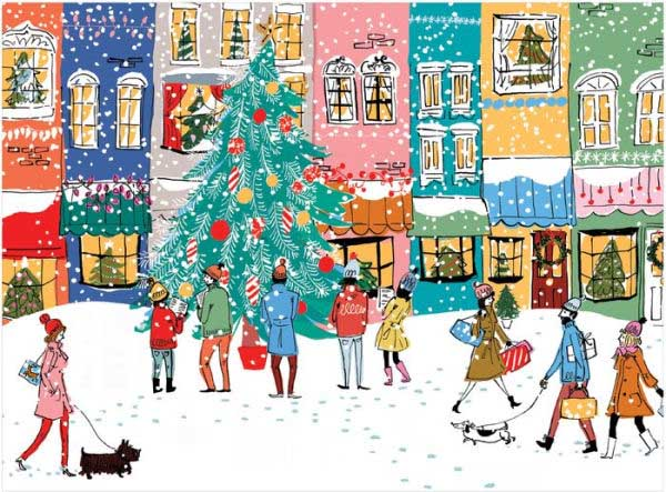 Christmas Carolers Street Scene Jigsaw Puzzle