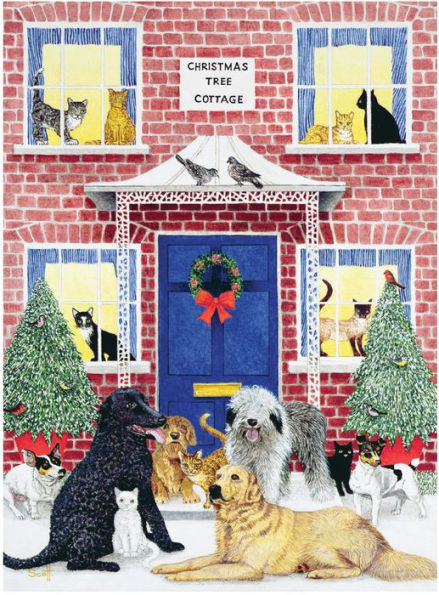 Christmas Cottage Dogs Jigsaw Puzzle