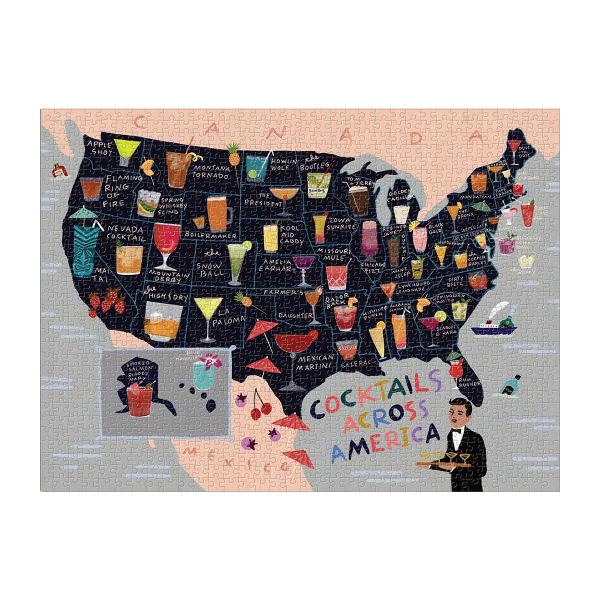 Cocktail Map USA Maps / Geography Jigsaw Puzzle