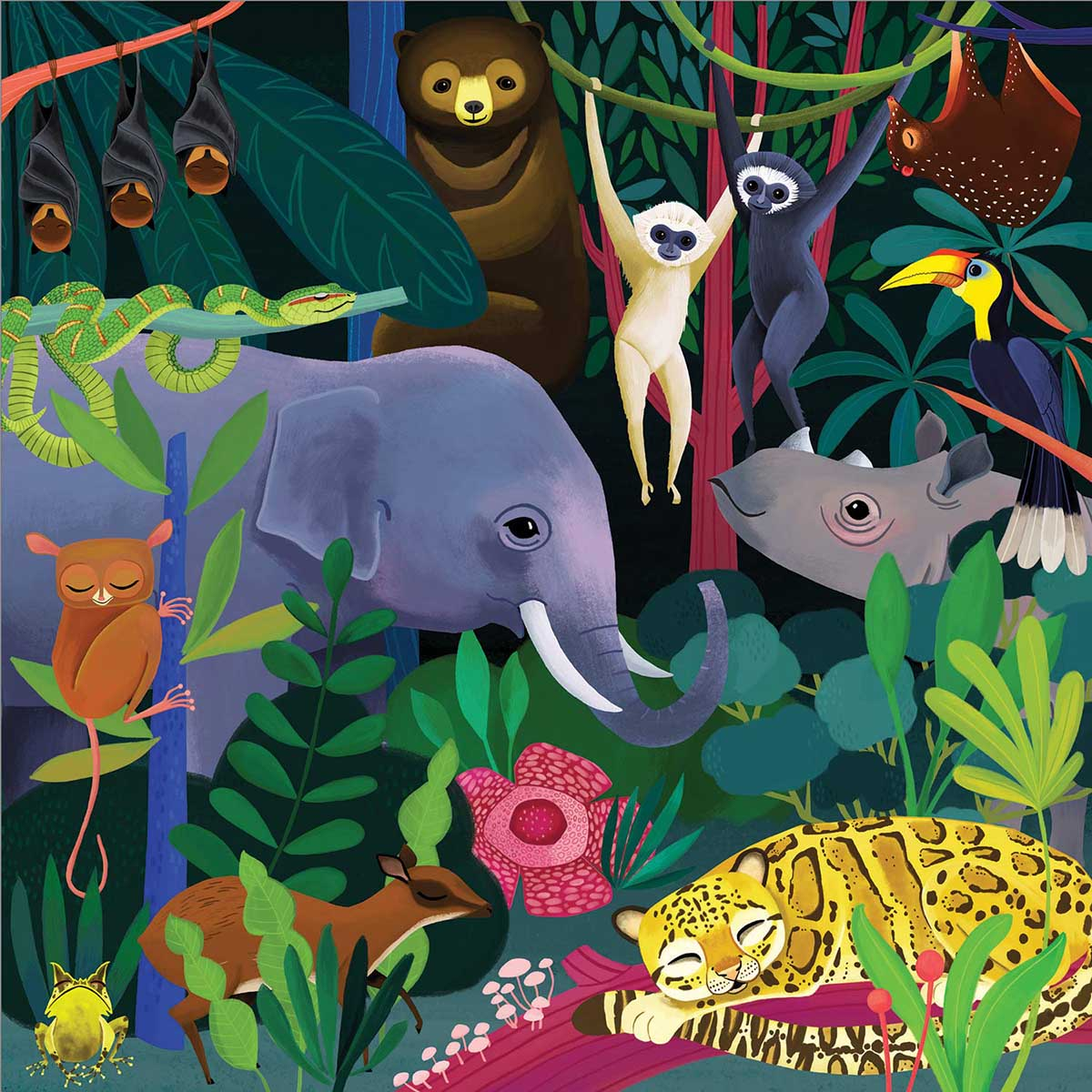 Jungle Illuminated Animals Glow in the Dark Puzzle