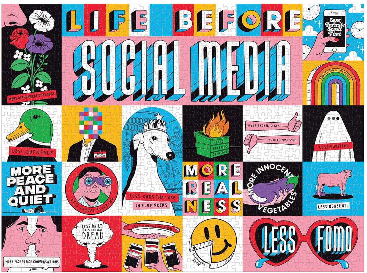 Life Before Social Media Nostalgic / Retro Jigsaw Puzzle