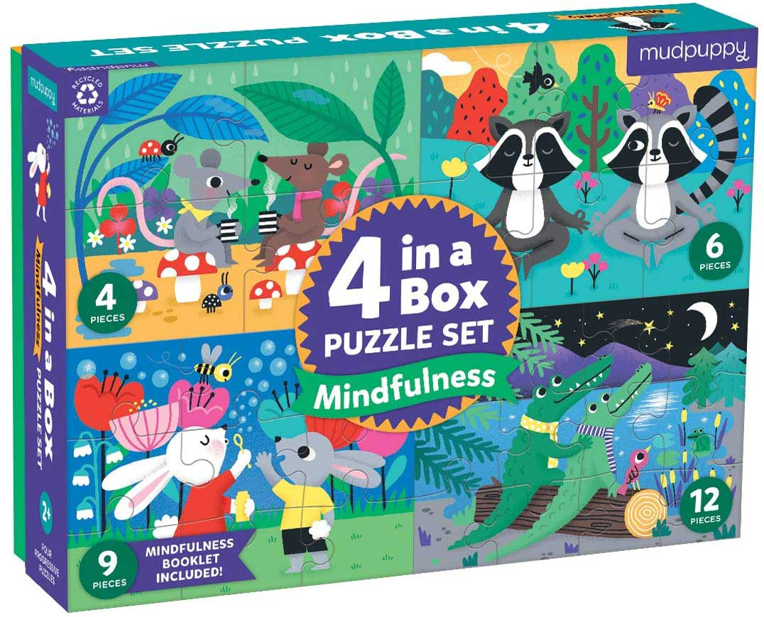 Mindful 4-in-a-Box Puzzle Set Animals Jigsaw Puzzle
