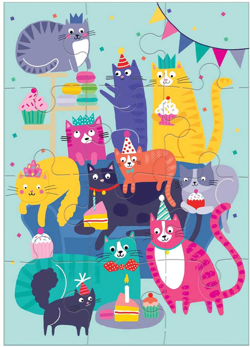 Cat Party Greeting Card Puzzle Cats Jigsaw Puzzle