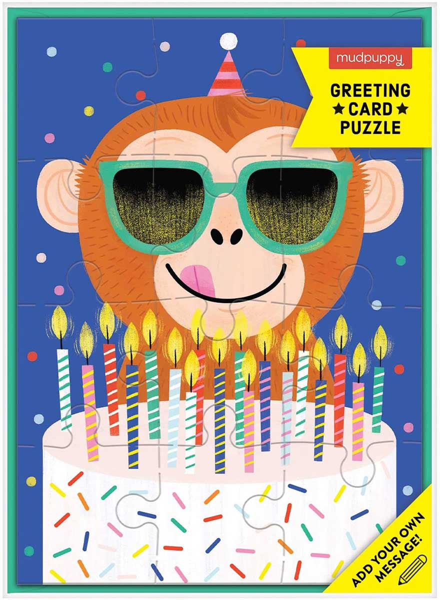 Monkey Cake Greeting Card Puzzle Animals Jigsaw Puzzle