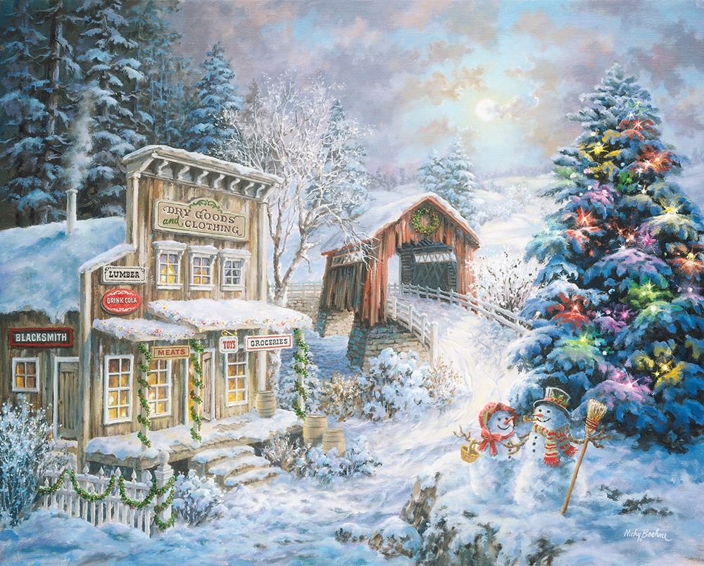 country christmas store snowman jigsaw puzzle - Country Christmas