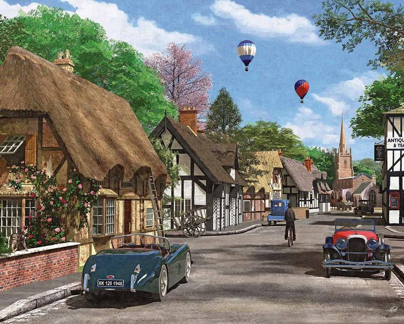 Cottage Lane Balloons Jigsaw Puzzle