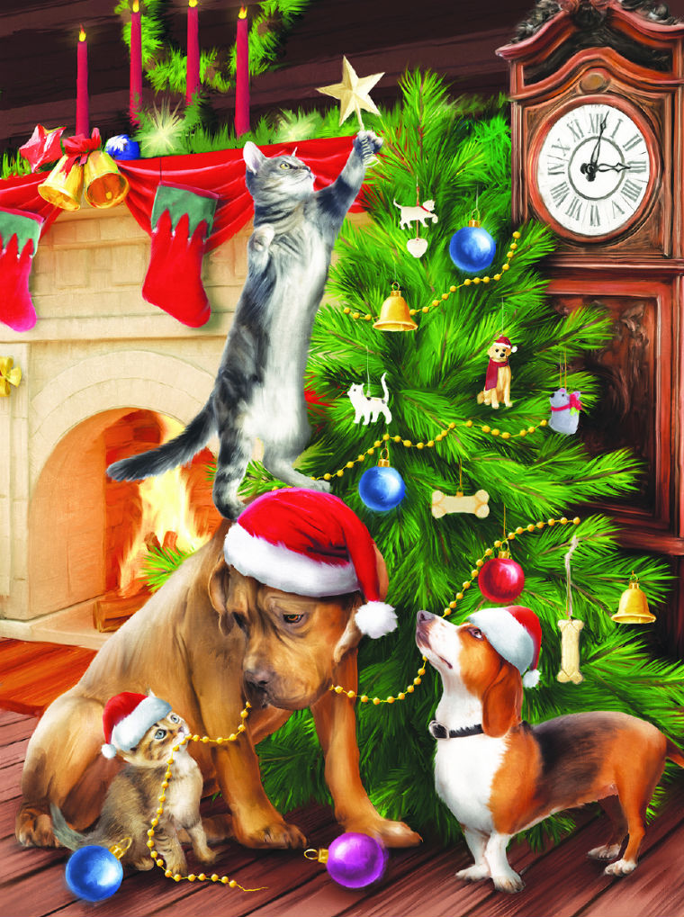 Trimming the Tree Cats Jigsaw Puzzle