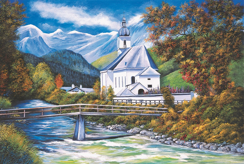 The Church of Ramsau Mountains Jigsaw Puzzle