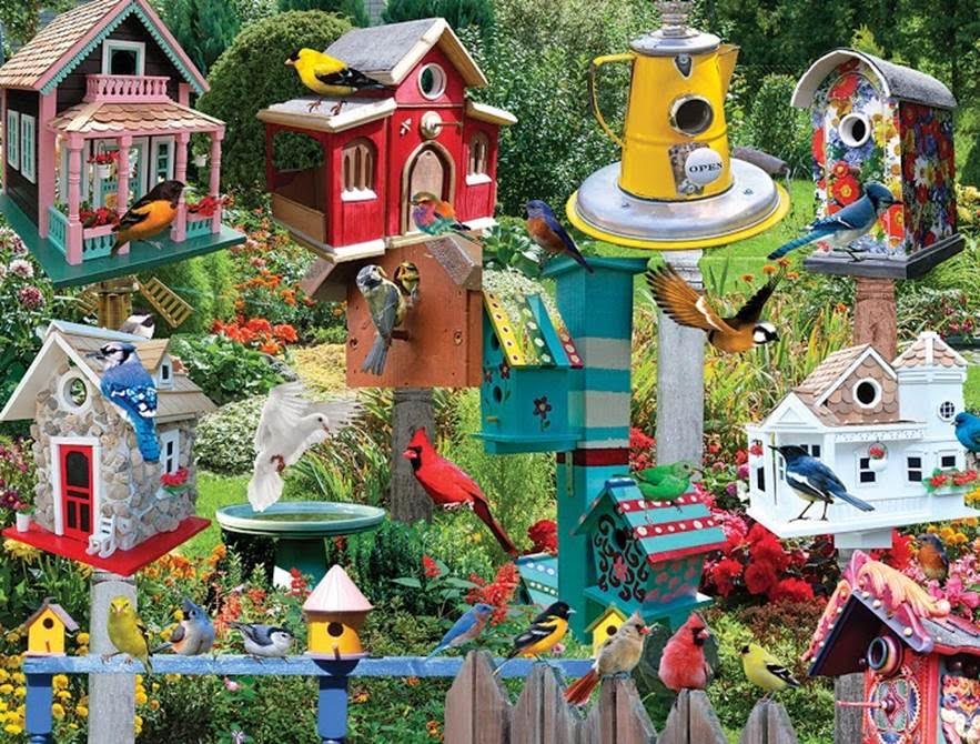 Birdhouse Village Birds Jigsaw Puzzle