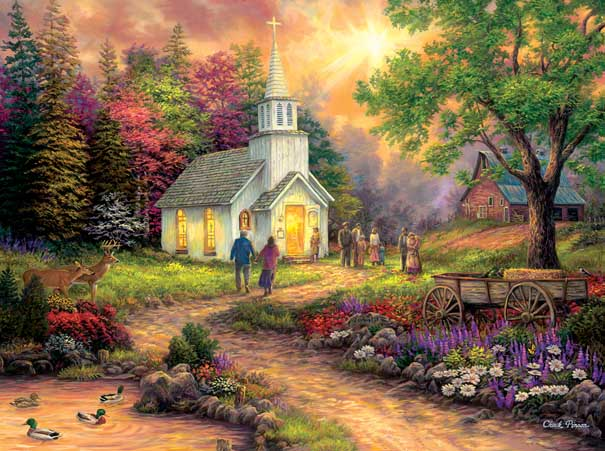 Country Church Countryside Jigsaw Puzzle