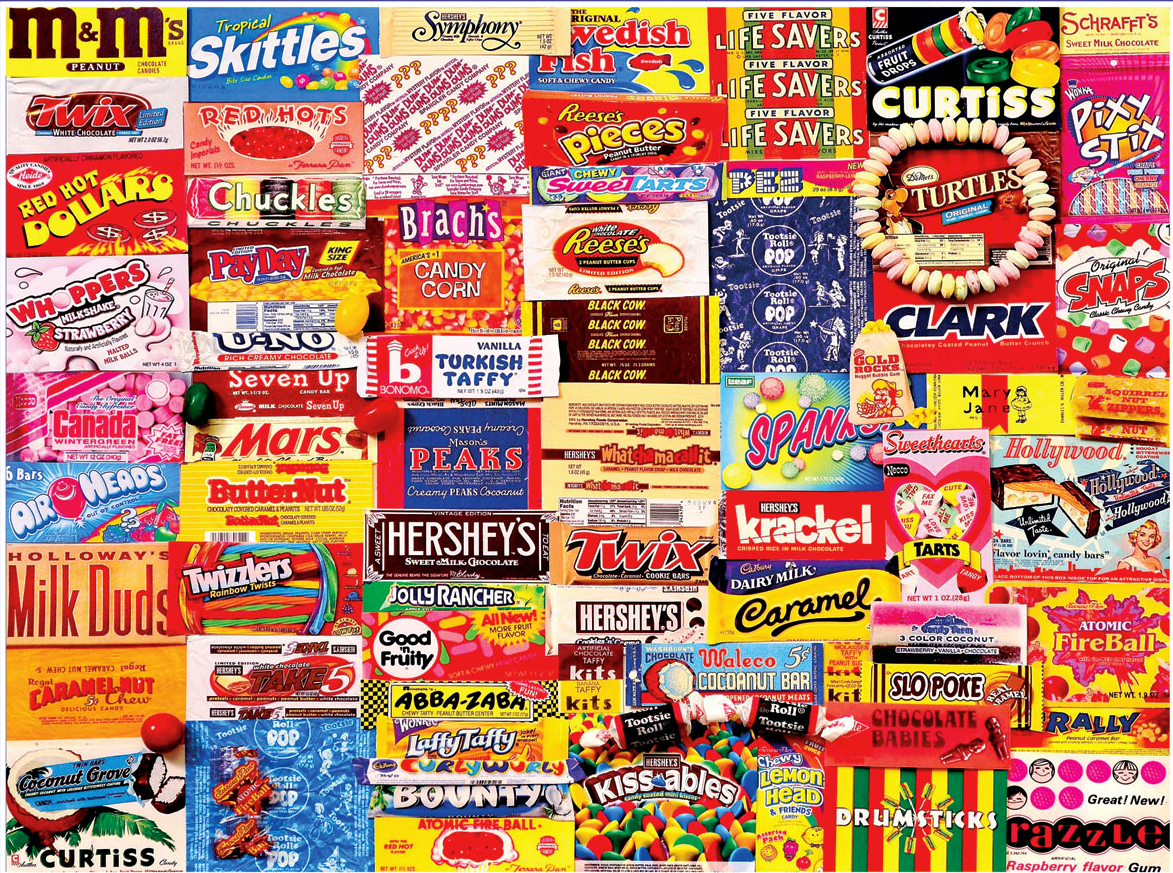 Vintage Candy Wrappers Collage Jigsaw Puzzle