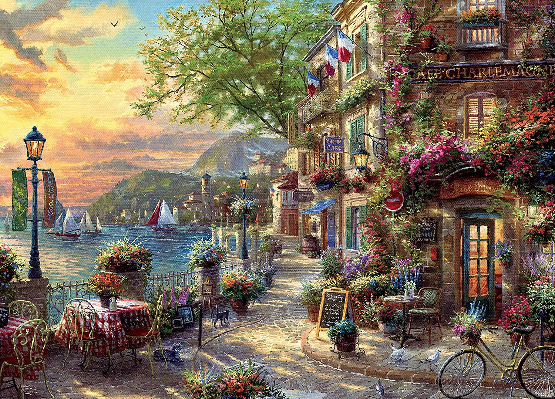 French Riviera Café Landscape Jigsaw Puzzle