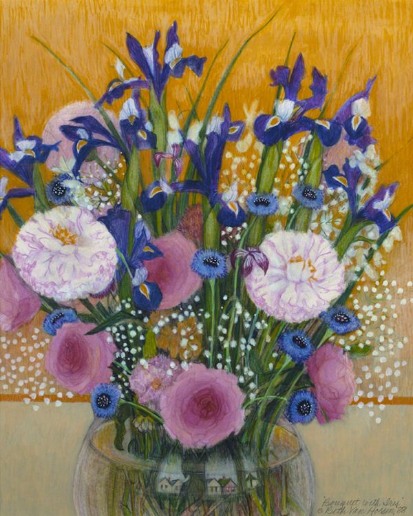 Beth Van Hoesen: Bouquet with Iris Flowers Jigsaw Puzzle
