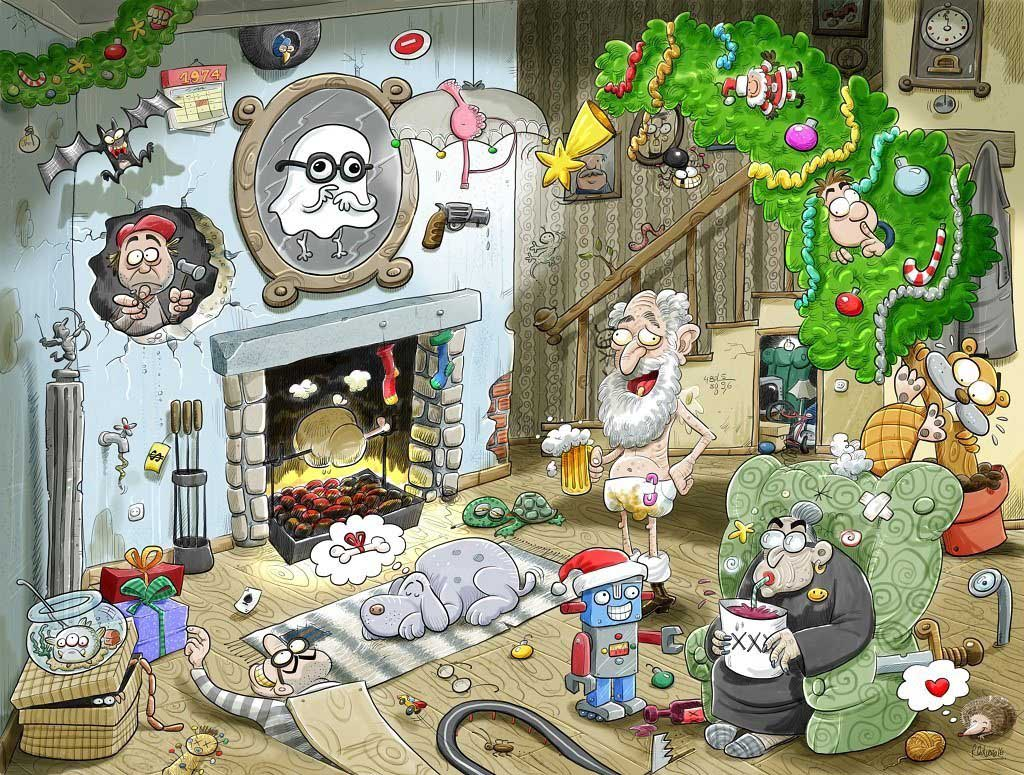 Christmas at Chaos House Cartoons Jigsaw Puzzle