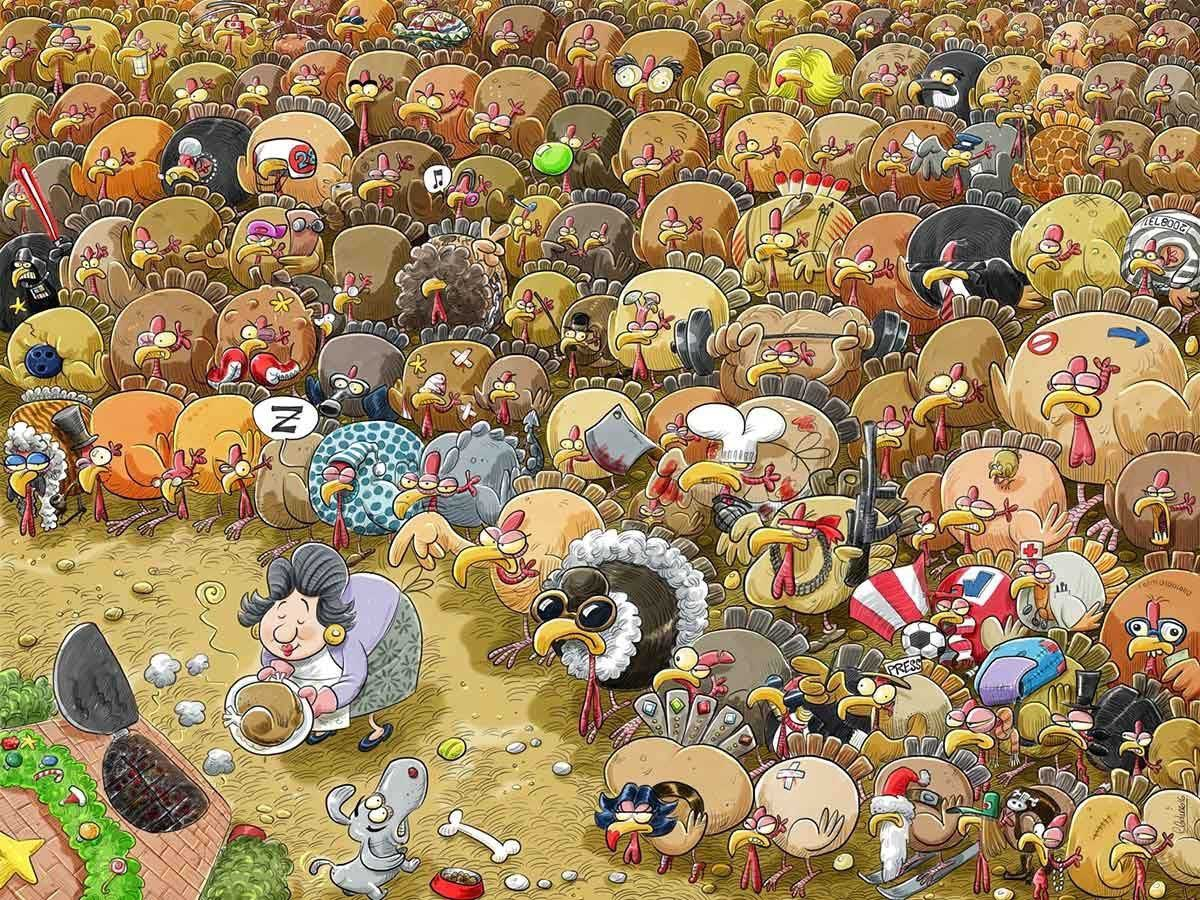 Christmas chaos at Turkey Farm - Scratch and Dent Birds Jigsaw Puzzle