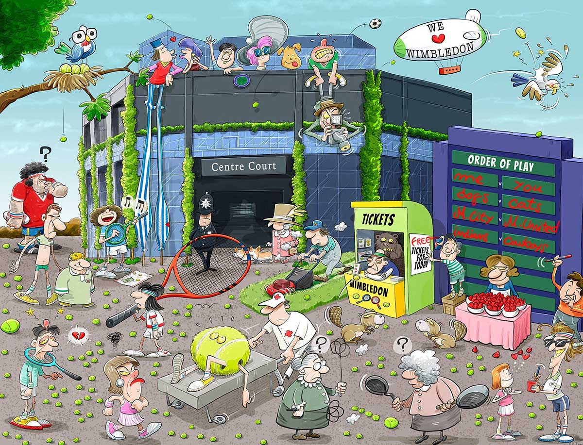 Chaos at Wimbledon - Scratch and Dent Cartoons Jigsaw Puzzle