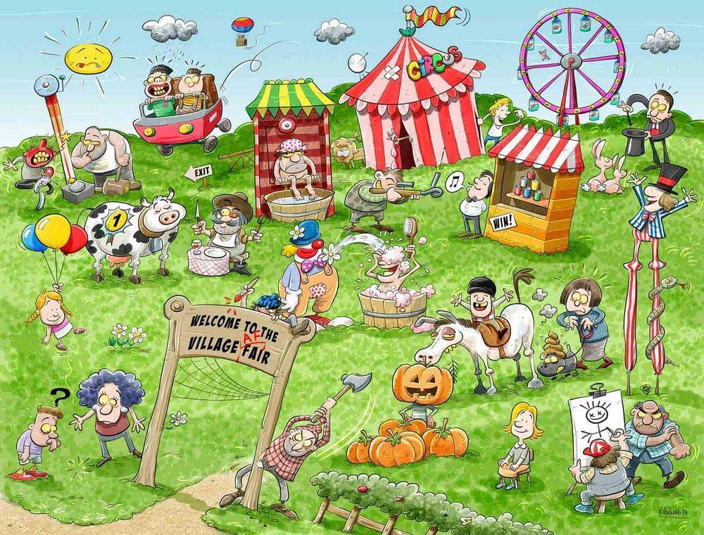 Chaos at the Village Fair - Scratch and Dent Spring Jigsaw Puzzle