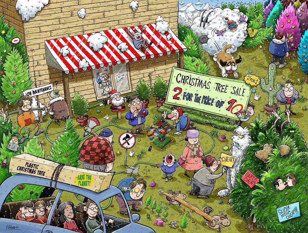 Chaos at Christmas Tree Farm Farm Jigsaw Puzzle
