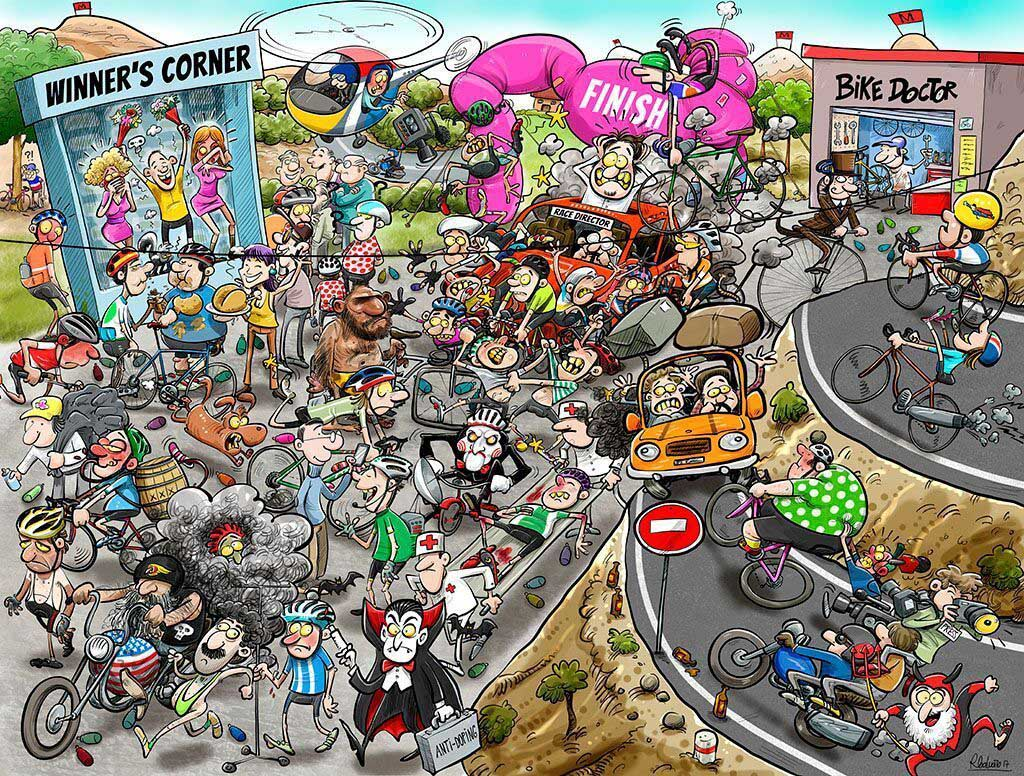 Chaos at the Cycling Tournament Cartoons Jigsaw Puzzle
