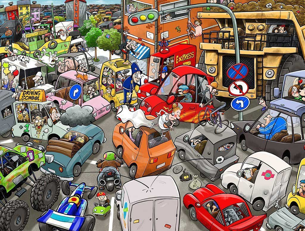 Chaos on the Road Cars Jigsaw Puzzle