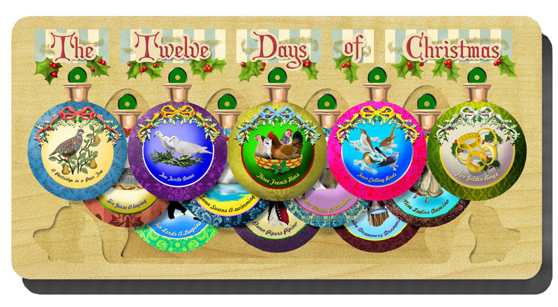 12 Days of Christmas Ornament Set Christmas Wooden