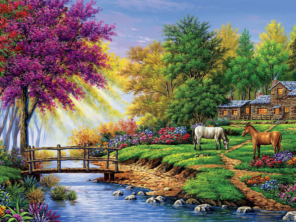 Cabin by the Stream  (Arturo Zarraga) Summer Jigsaw Puzzle