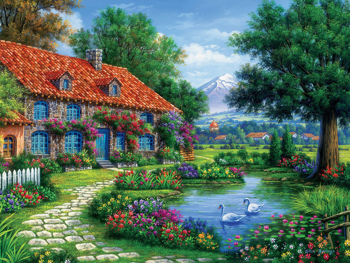 Cottage with Swans (Arturo Zarraga) - Scratch and Dent Lakes / Rivers / Streams Jigsaw Puzzle