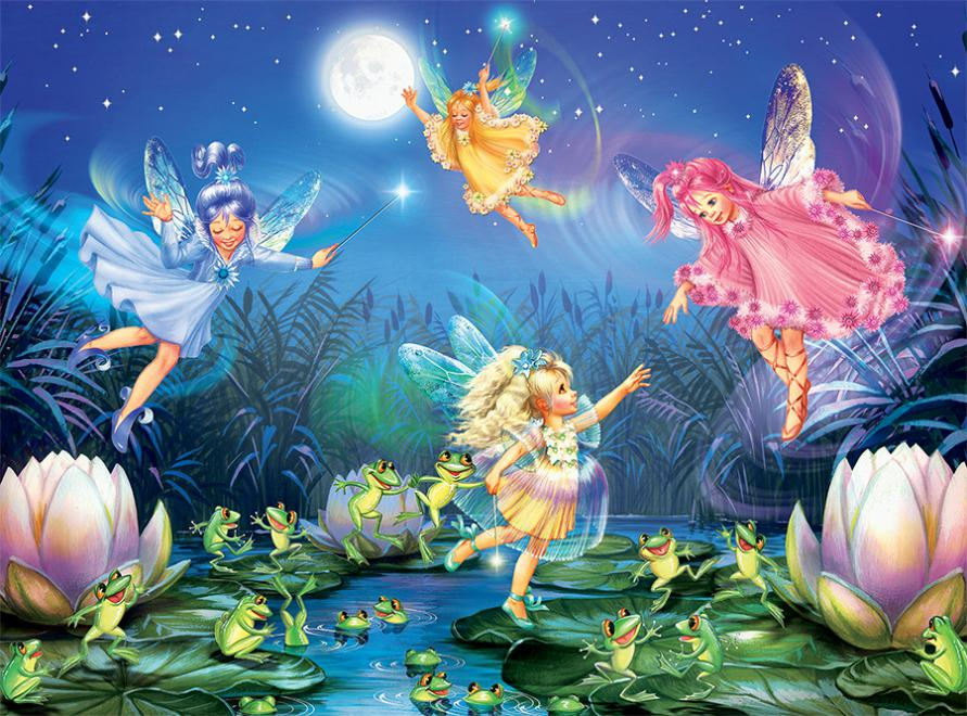 Fairies Dancing with Frogs (Forest Fairies) Fairies Glitter / Shimmer / Foil Puzzles