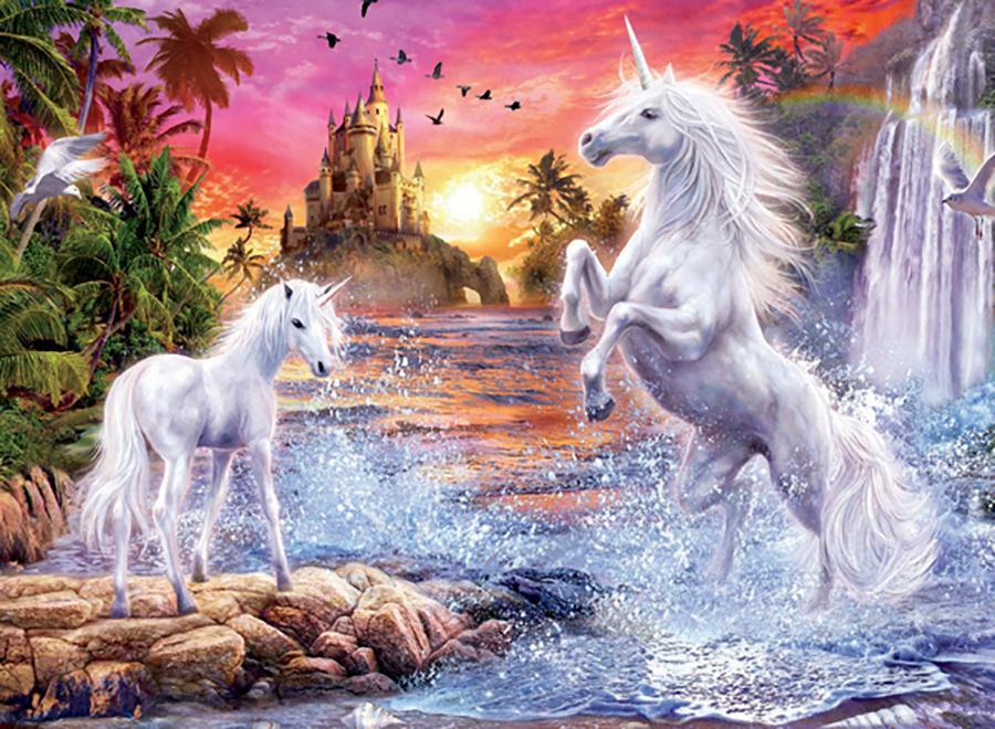 Unicorn Waterfall Sunset (Unicorns) Castles Jigsaw Puzzle