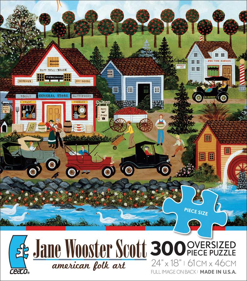 The Shopping Center Folk Art Jigsaw Puzzle